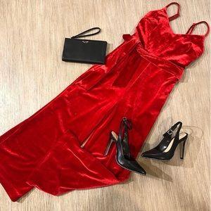Gianni Bini Cropped Red Velvet Jumpsuit